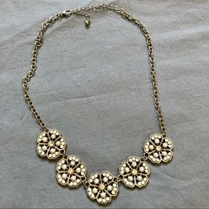 Rickis Pearl & Silver Flower Statement Necklace